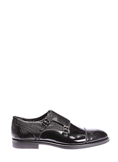 İnci İnci Tokalı Siyah Klasik  Düz Ayakkabı Siyah